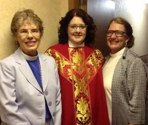 Vested for the first time as a priest on the night of my ordination, June 29, 2014, at St. Paul's Episcopal Church, Woodville. Beside me are two friends who are recently ordained transitional deacons, the Rev. Paulette Magnuson, left, and the Rev. Terry Pierce.