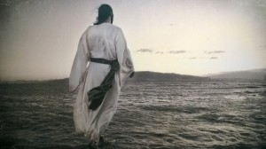 "My favorite wall hanging in my office space at church. Jesus, walking on the water toward his disciples in the pre-dawn light, perhaps already calling to Peter, ""Come!"""